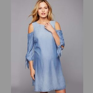 A Pea In The Pod Chambray Cold Shoulder Dress